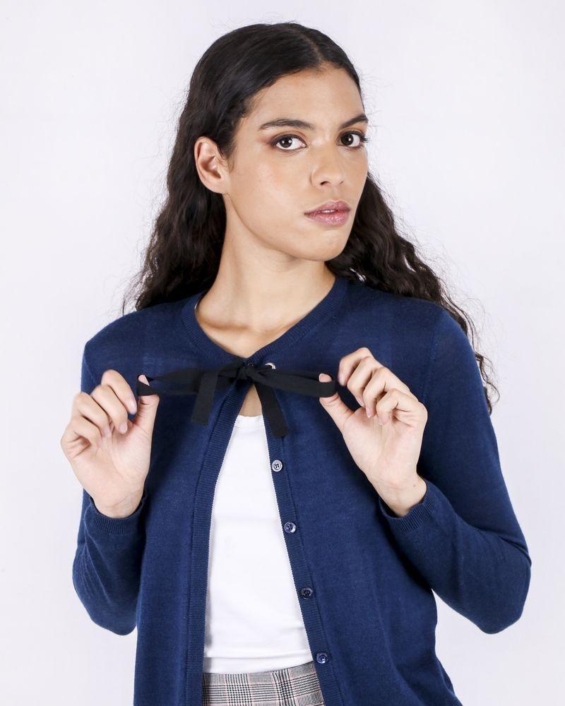 Gilet en cachemire bleu à nœud Valentino