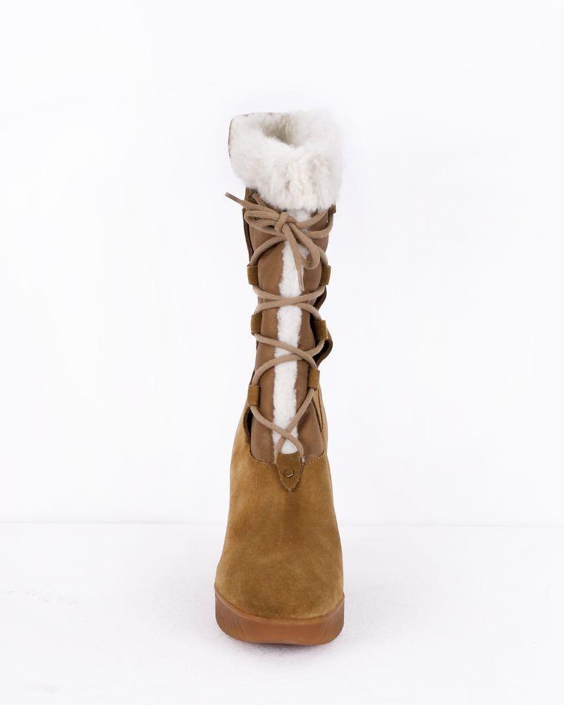 Bottines compensées en cuir camel Chloe