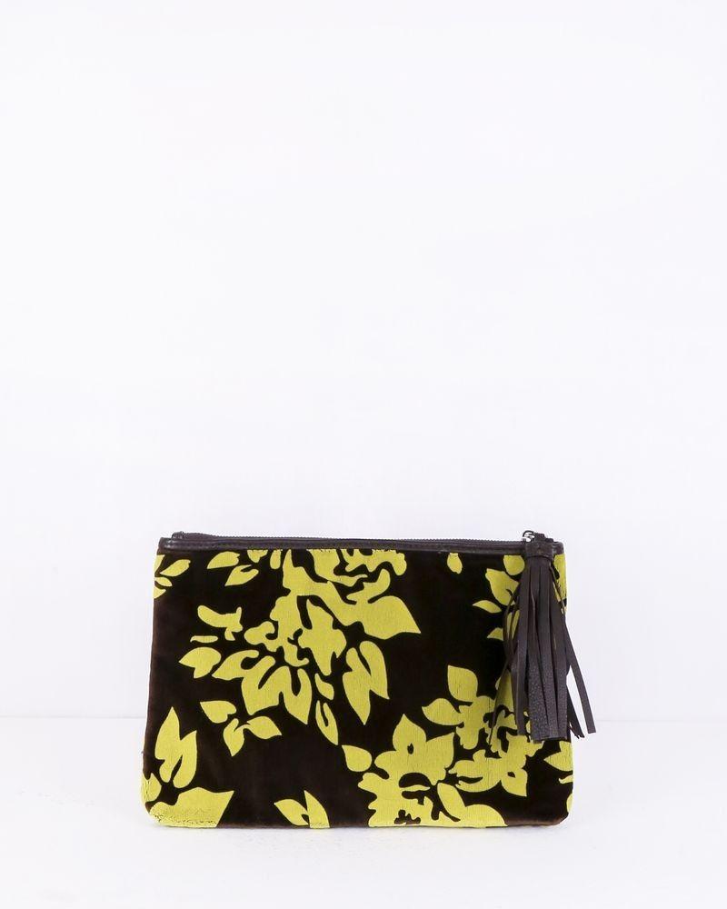 Pochette en velours bicolore fleurie Mary Katrantzou