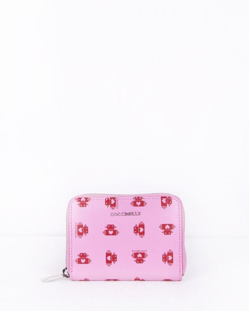 Portefeuille en cuir rose à logo Coccinelle