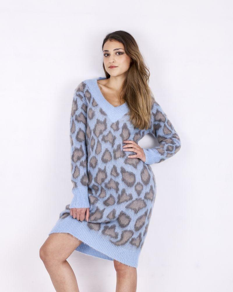 Robe en maille bleue à motifs leopard SVNTY
