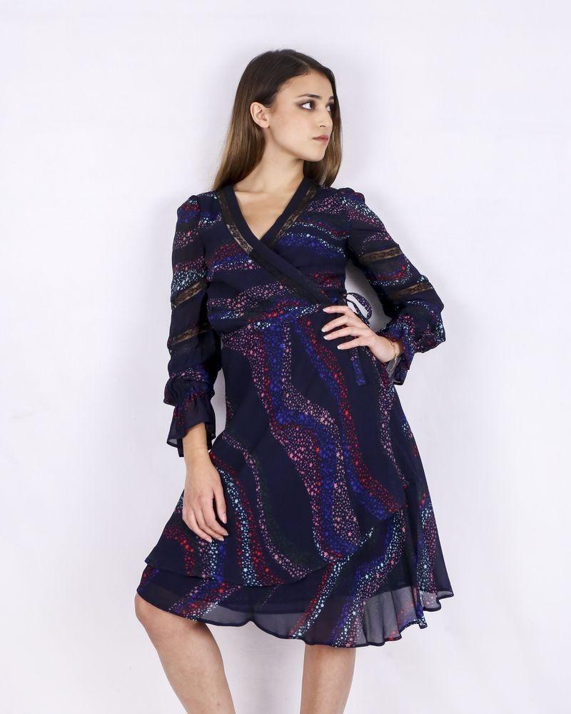 Robe bleue nuit à motifs Isabelle Blanche