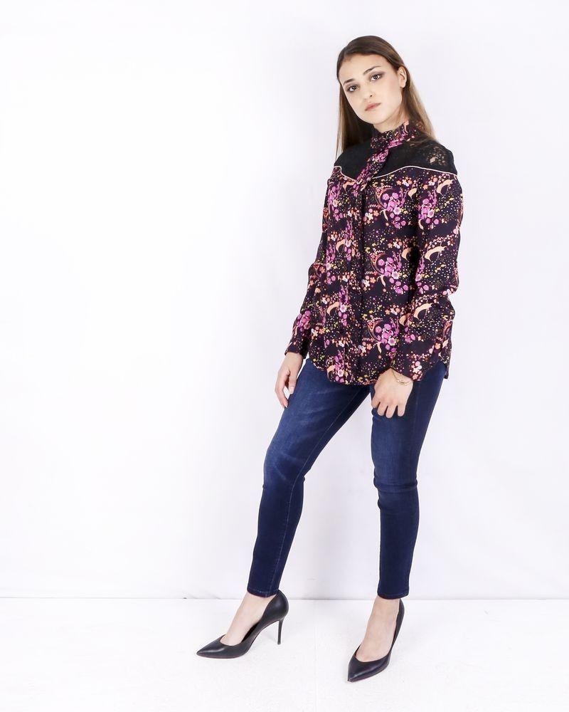 Chemisier violet à motif fleuri Isabelle Blanche