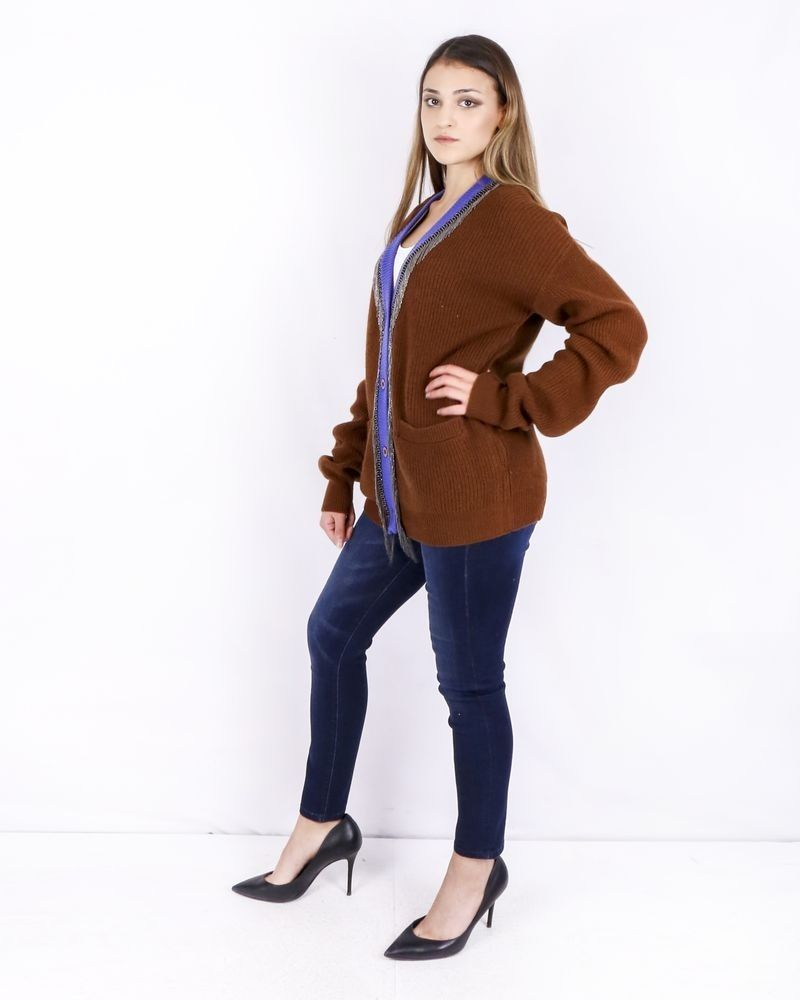 Gilet en laine marron à galons frangés Isabelle Blanche