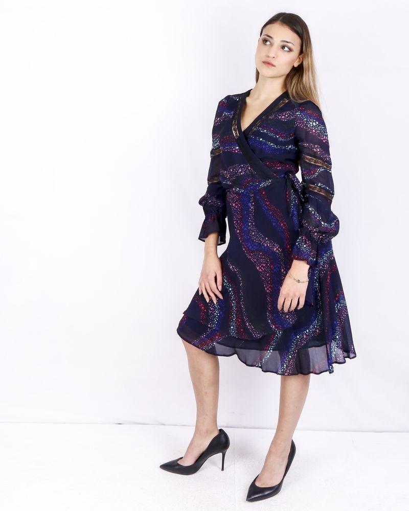 Robe cache cœur en mousseline bleue étoilée Isabelle Blanche