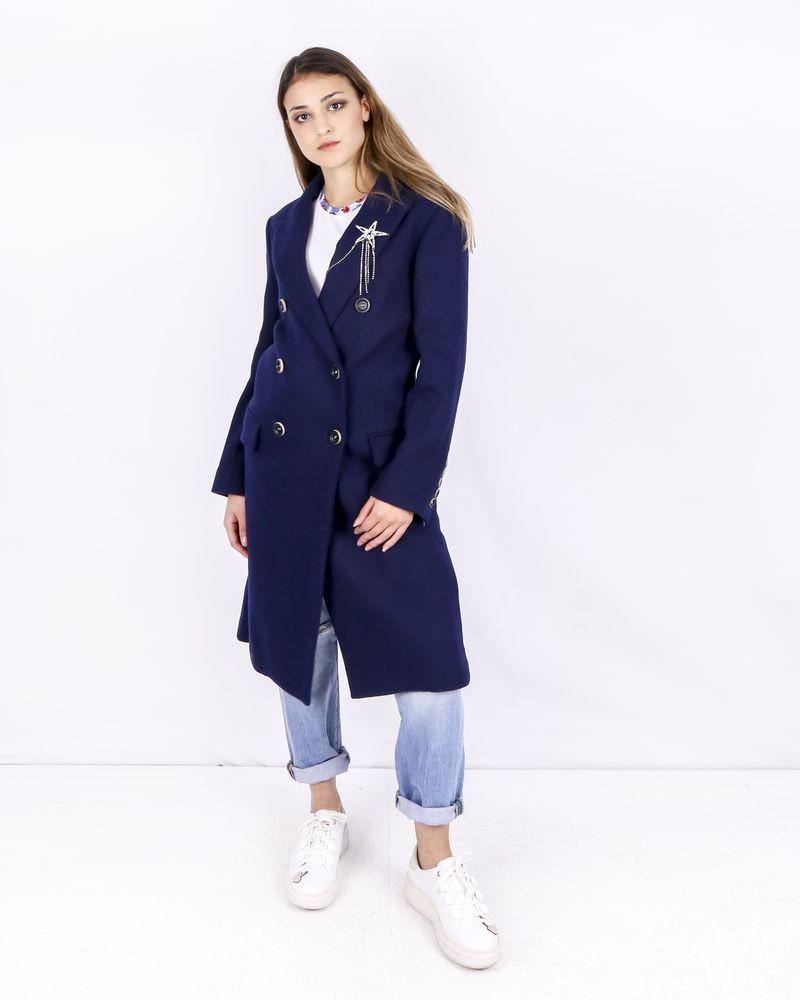 Manteau croisé en laine bleue Isabelle Blanche