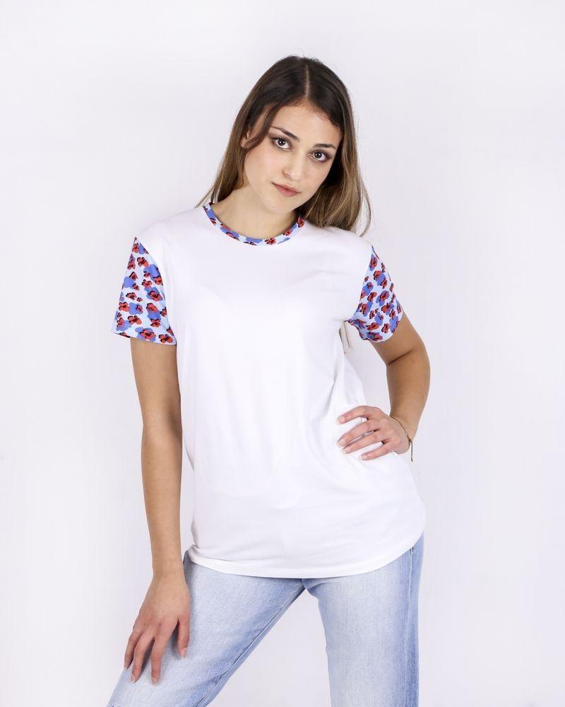 T-Shirt blanc à empiècement fleuri Blumarine