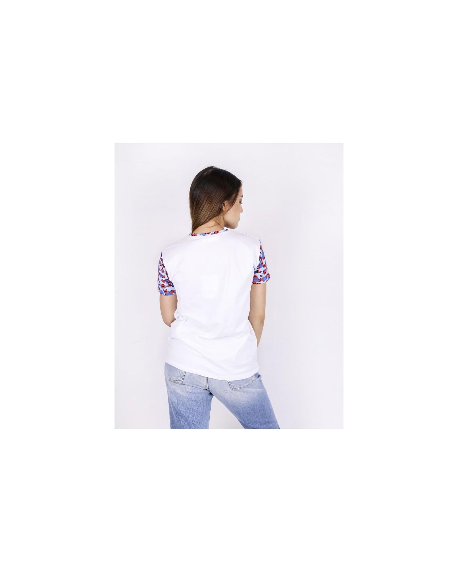 Tshirt blanc à manches et col fleuris Blumarine