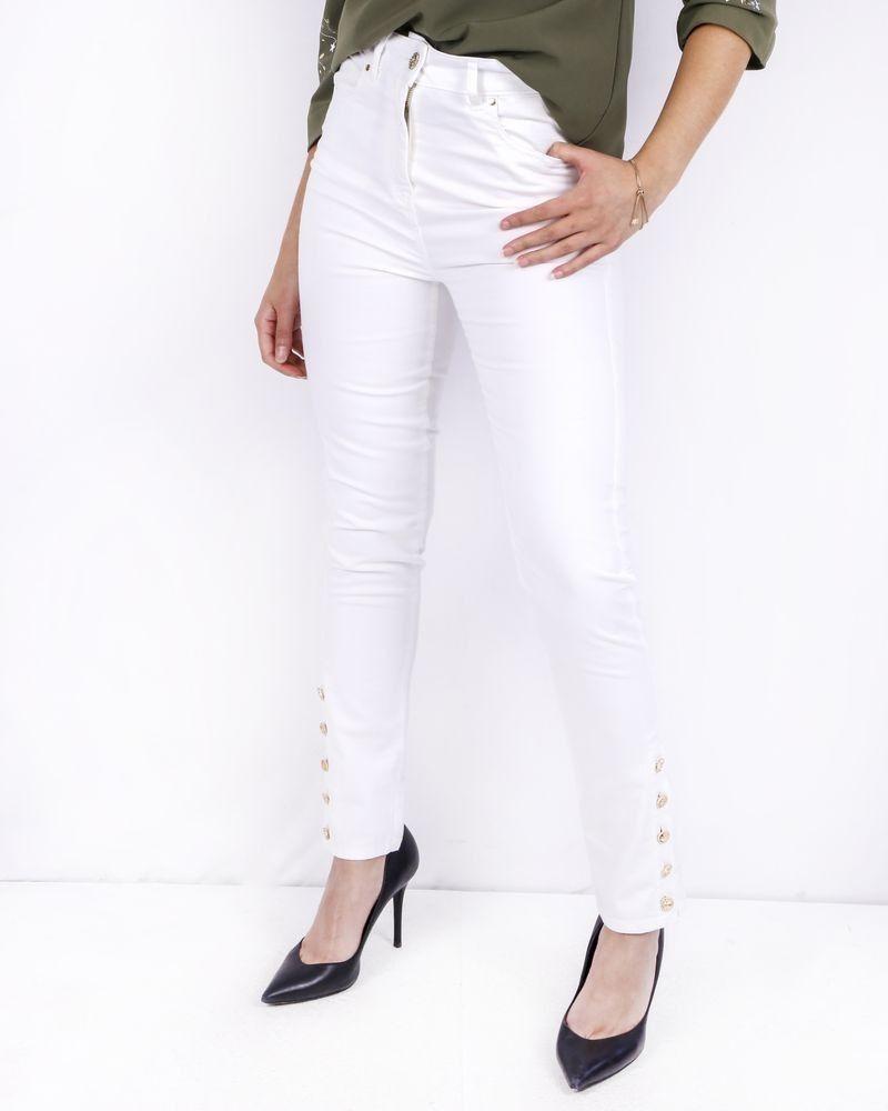 Pantalon skinny blanc à boutons fantasies Edward Achour