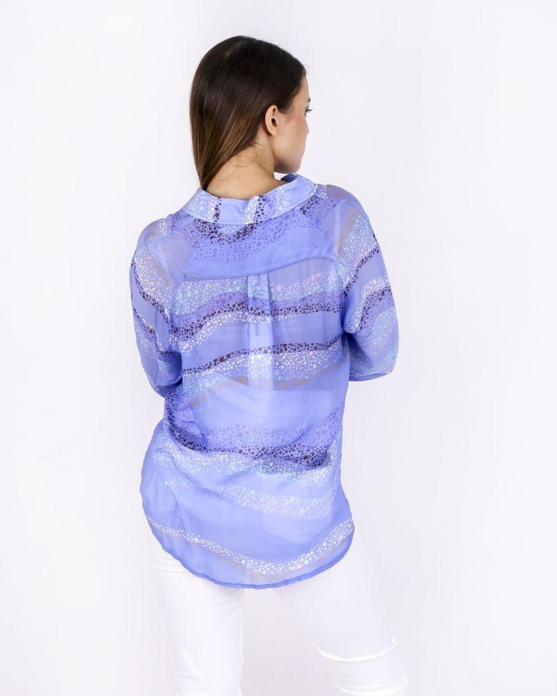 Chemisier bleu à motifs Isabelle Blanche