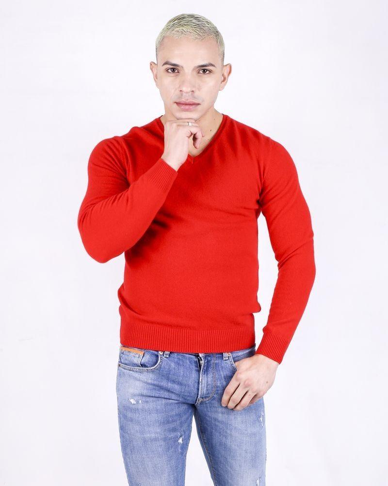 Pull col V en laine rouge Daniele Fiesoli