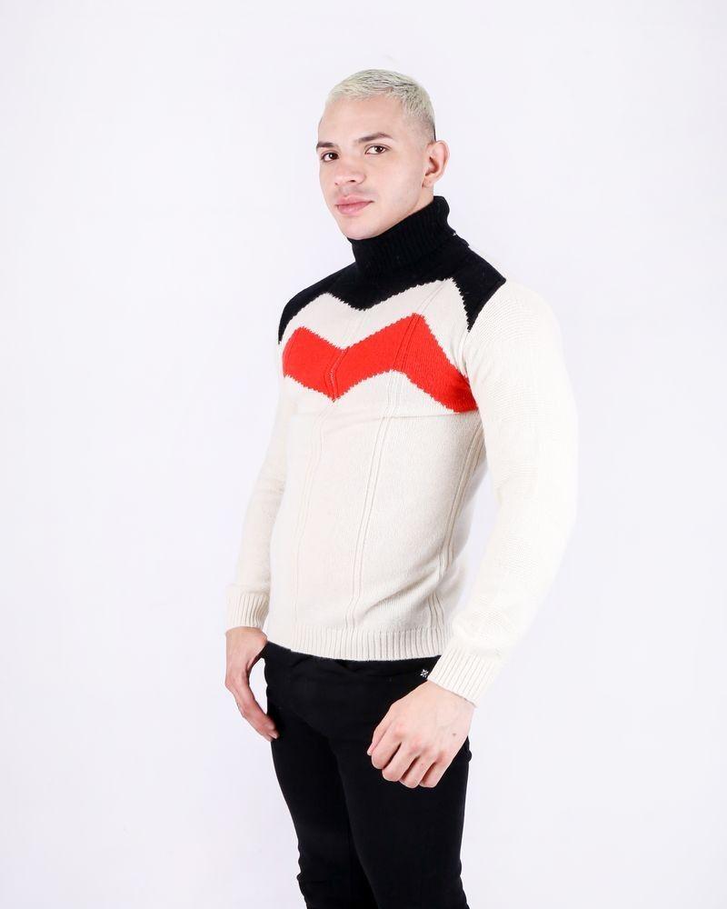 Pull en laine tricolore col roulé Daniele Fiesoli