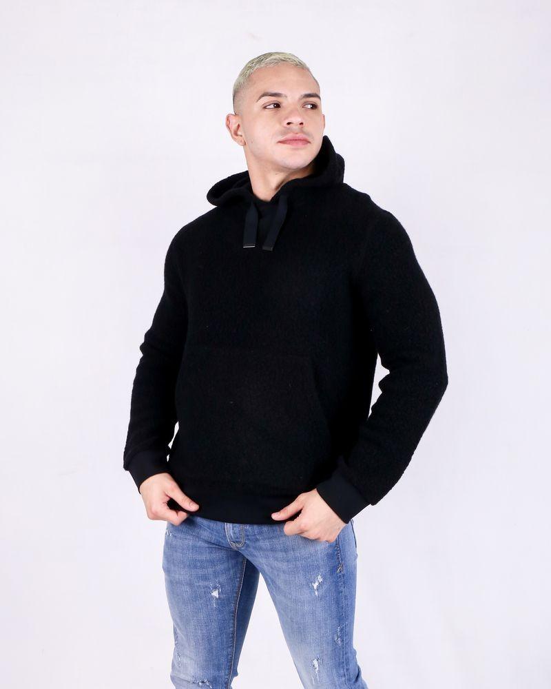 Sweat en laine noire à capuche Daniele Fiesoli