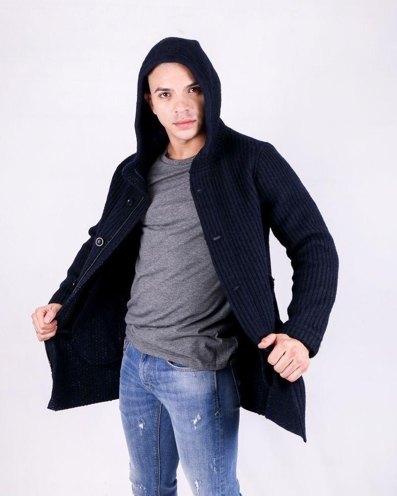 Manteaux en laine bleu côttelé à capuche Woolgroup