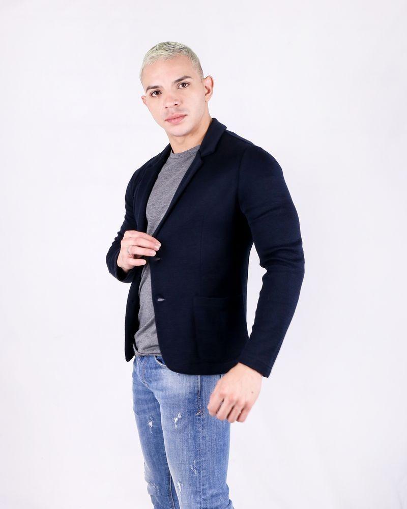 Blazer bleu cintré en laine Woolgroup