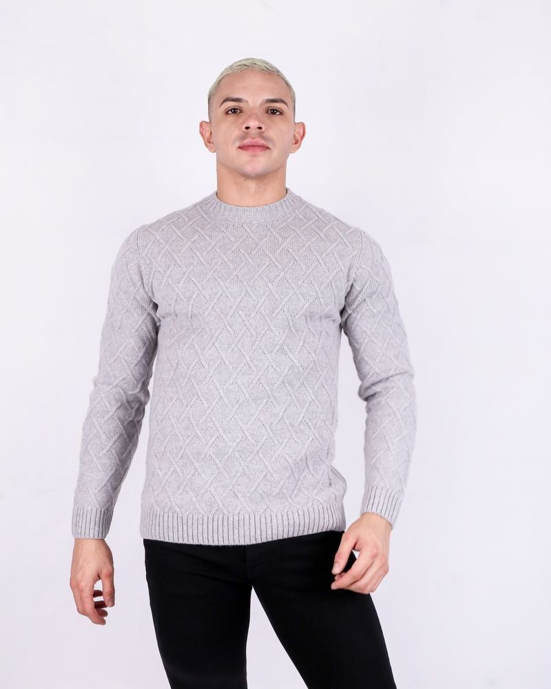 Pull en laine grise col rond Daniele Fiesoli