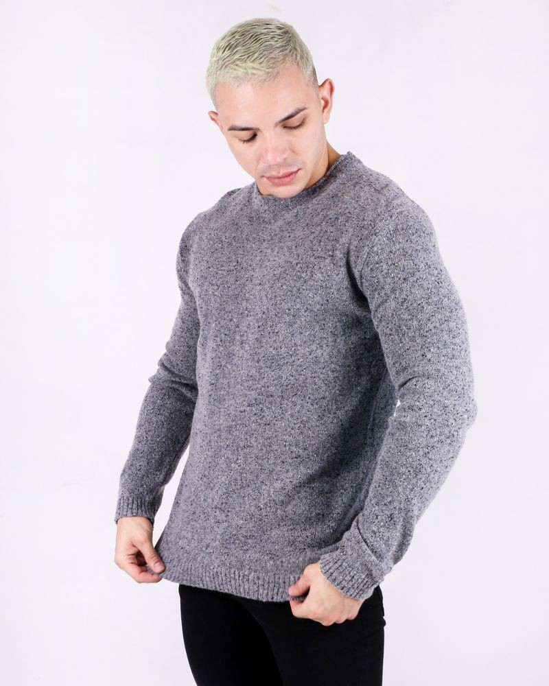 Pull en laine grise col rond Woolgroup