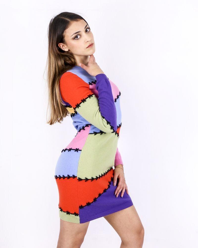 Robe en laine et cachemire multicolore Moschino