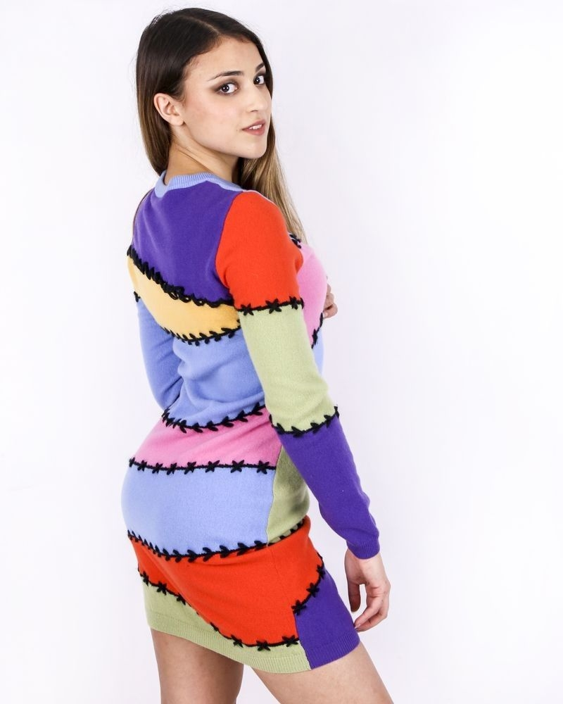 Robe façon patchwork en cachemire multicolore Moschino