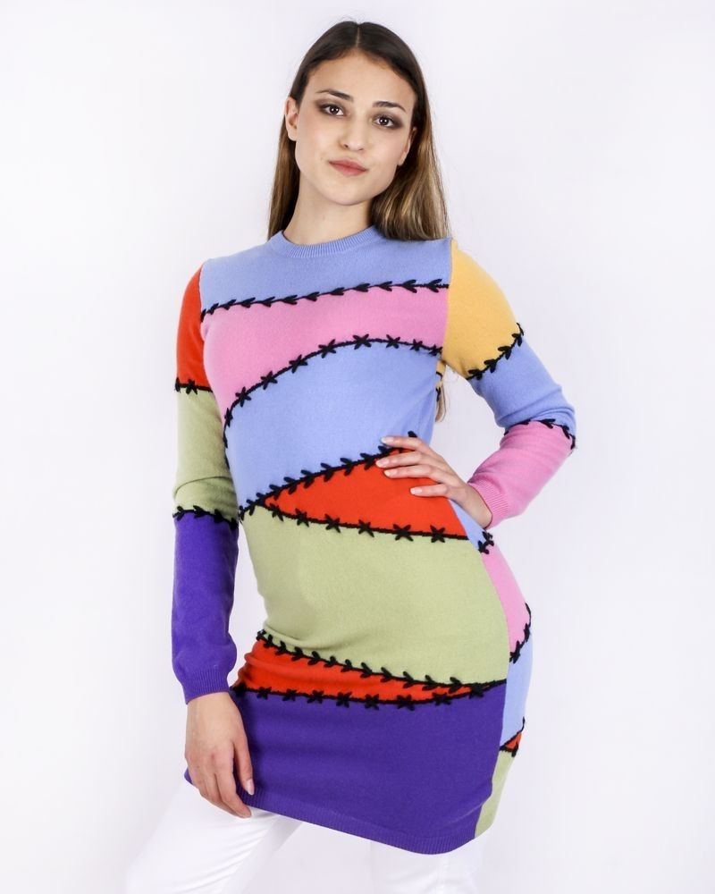Pull façon patchwork en cachemire multicolore Moschino