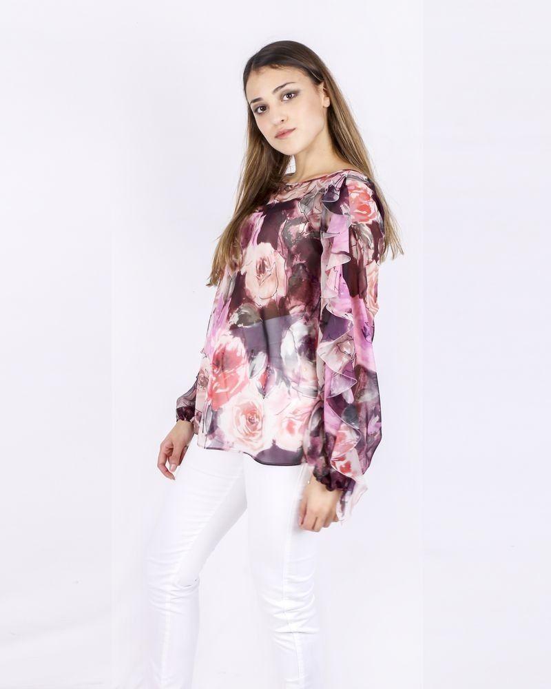 Blouse en mousseline fleurie rose Blumarine