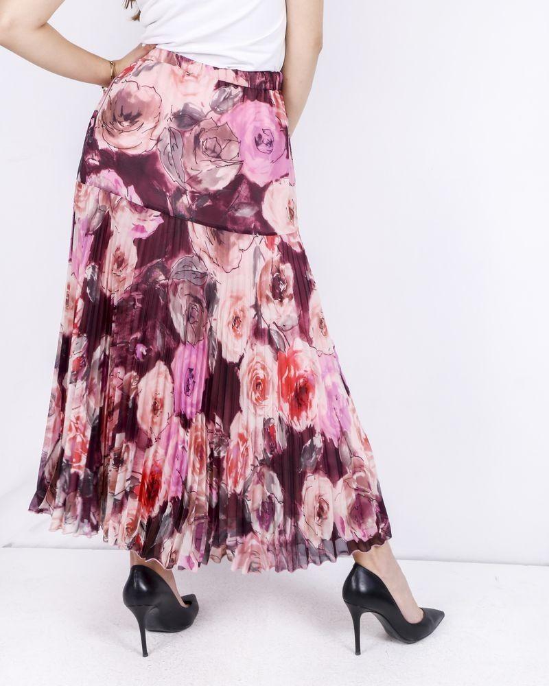 Jupe longue en mousseline plissée rose à fleurs Blumarine