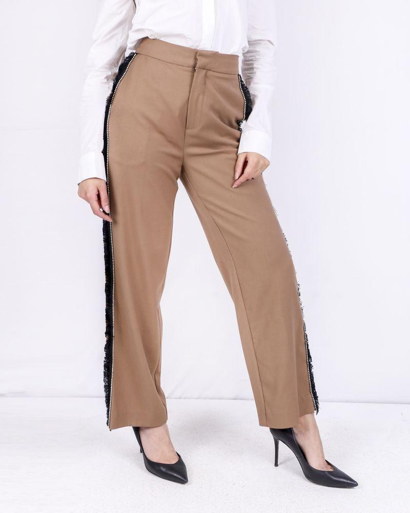 Pantalon marron à franges et strass Isabelle Blanche