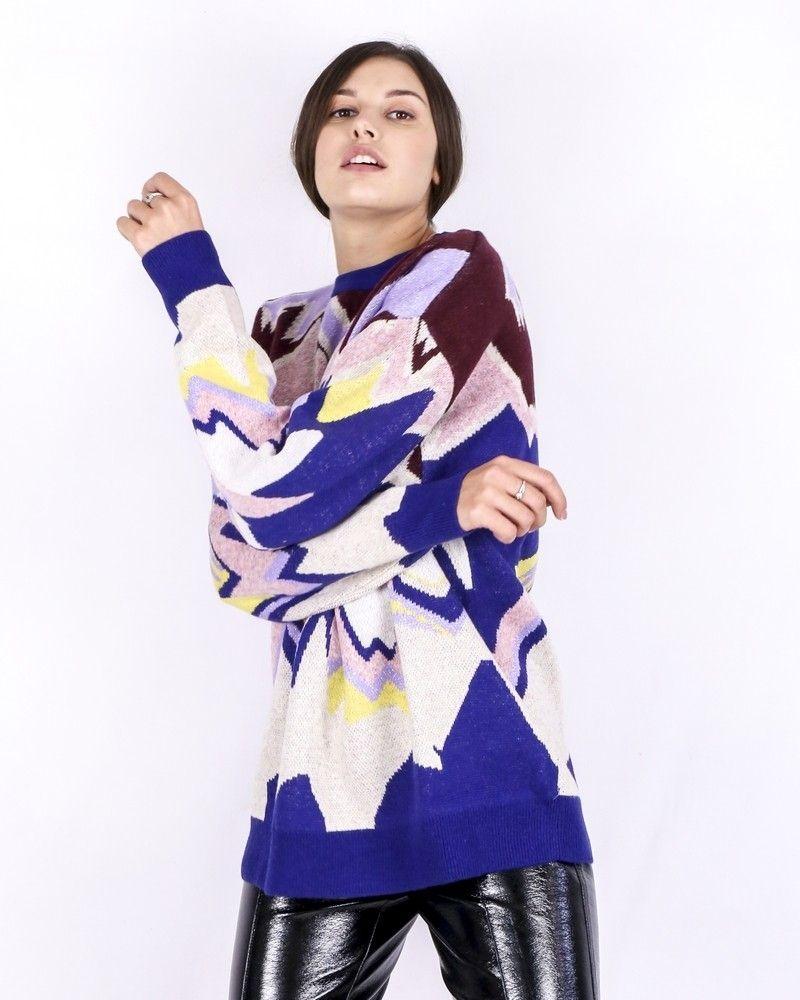 Pull en laine violette à motif abstrait Isabelle Blanche
