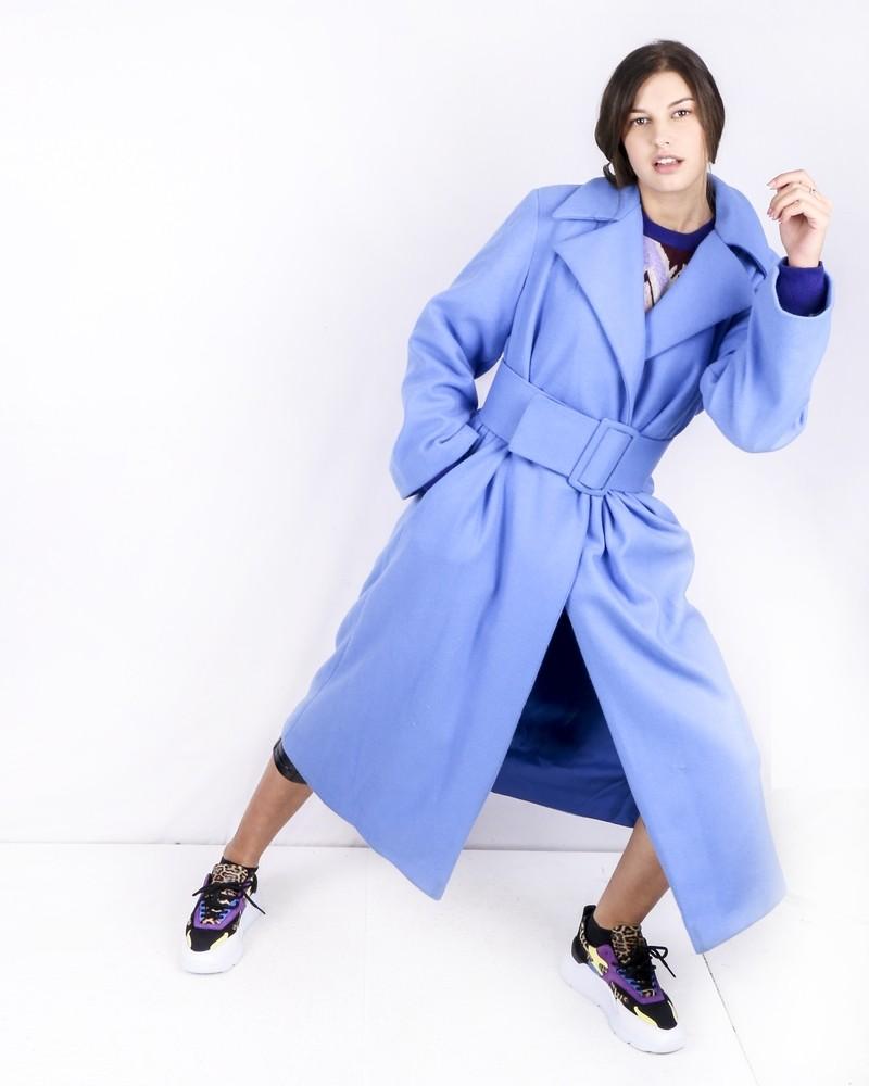 Trench Coat ceinturé bleu