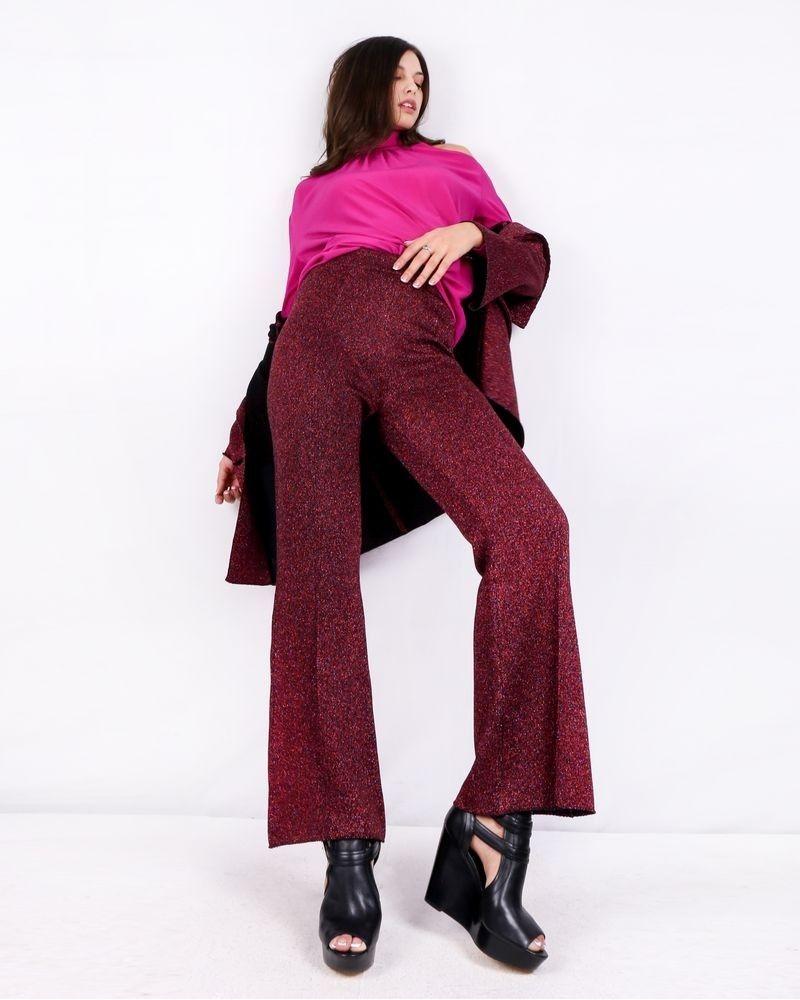 Pantalon palazzo en laine façon lurex pailleté bordeaux Nude