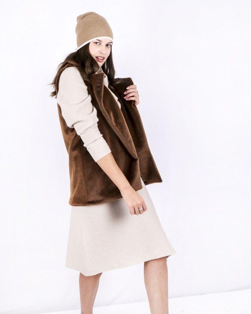 Manteau sans manches en fourrure synthétique marron Jijil