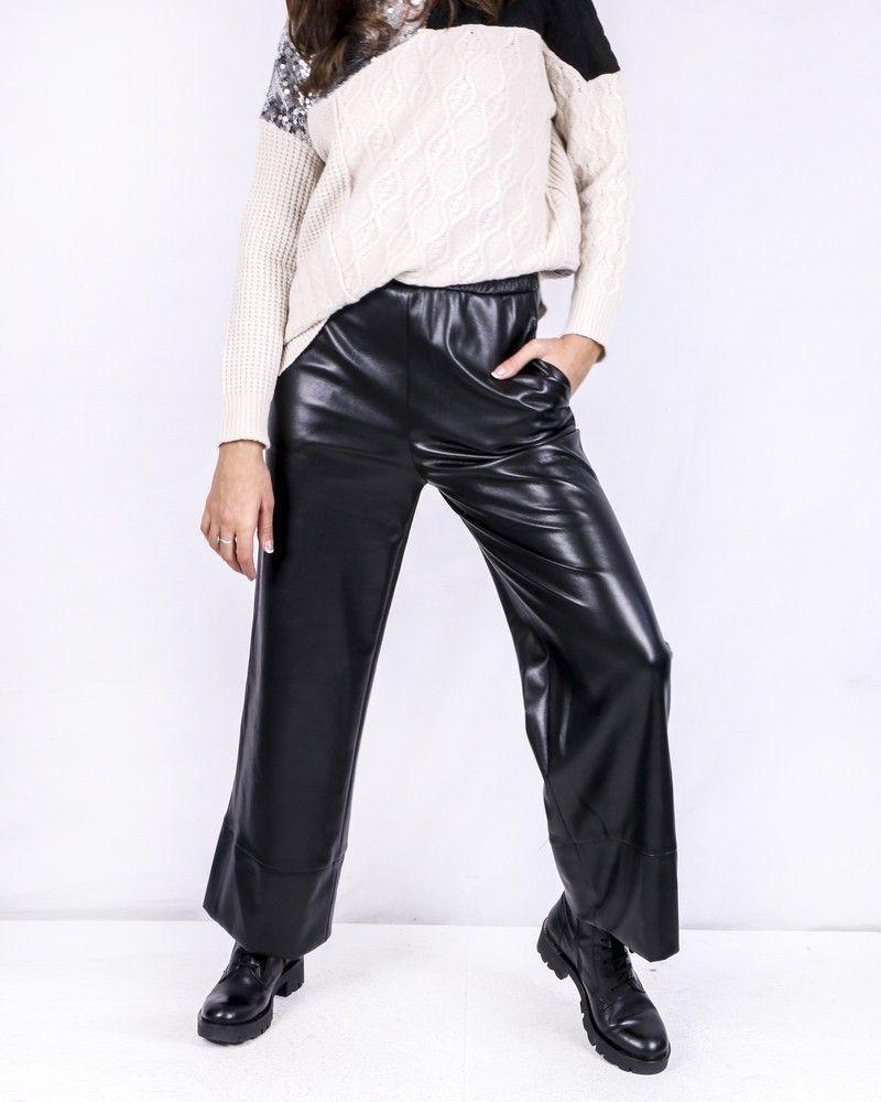 Pantalon façon cuir noir ceinturé Space Simona Corsellini