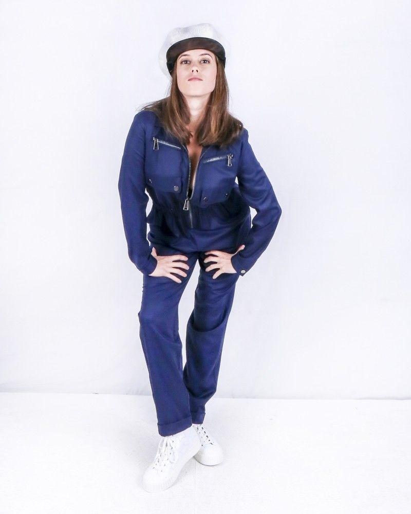 Combinaison zippée en crêpe bleu Space Simona Corsellini