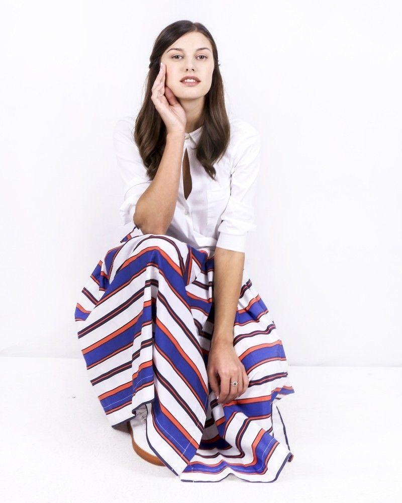 Robe chemise blanche imprimée à détails plissés Sara Roka