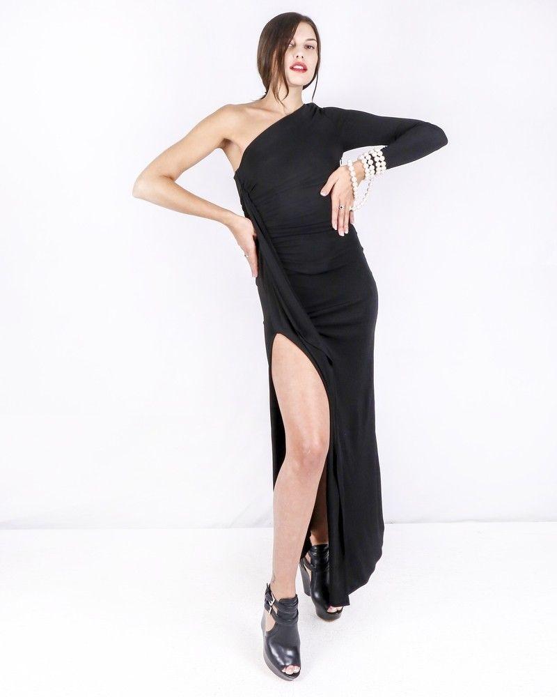 Robe longue asymétrique noire Space Simona Corsellini