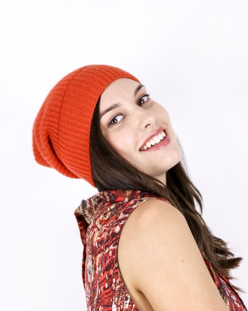 Bonnet en cachemire orange Daniele Fiesoli
