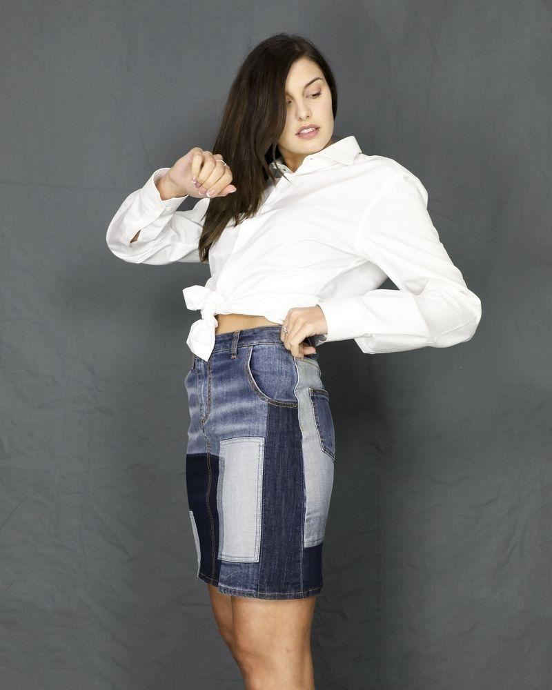 Jupe en jean façon patchwork bleue John Galliano