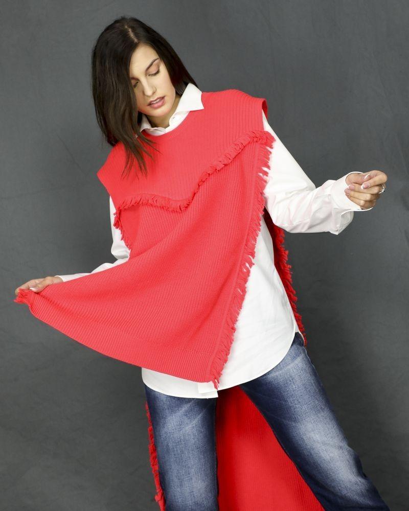 Poncho en laine rouge Kenzo