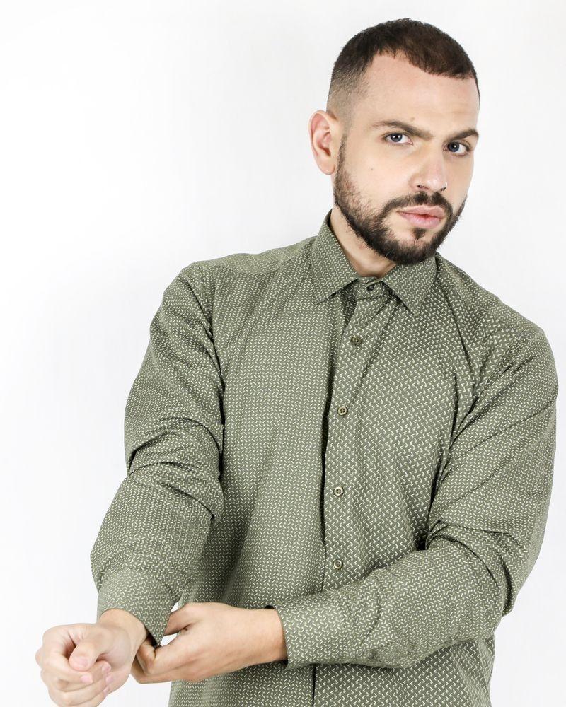 Chemise kaki à motifs fantaisie Chrom