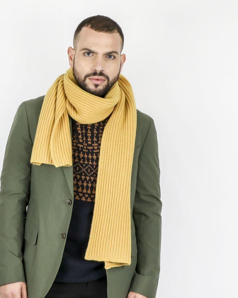 Echarppe en cachemire jaune à motifs tressés Corneliani
