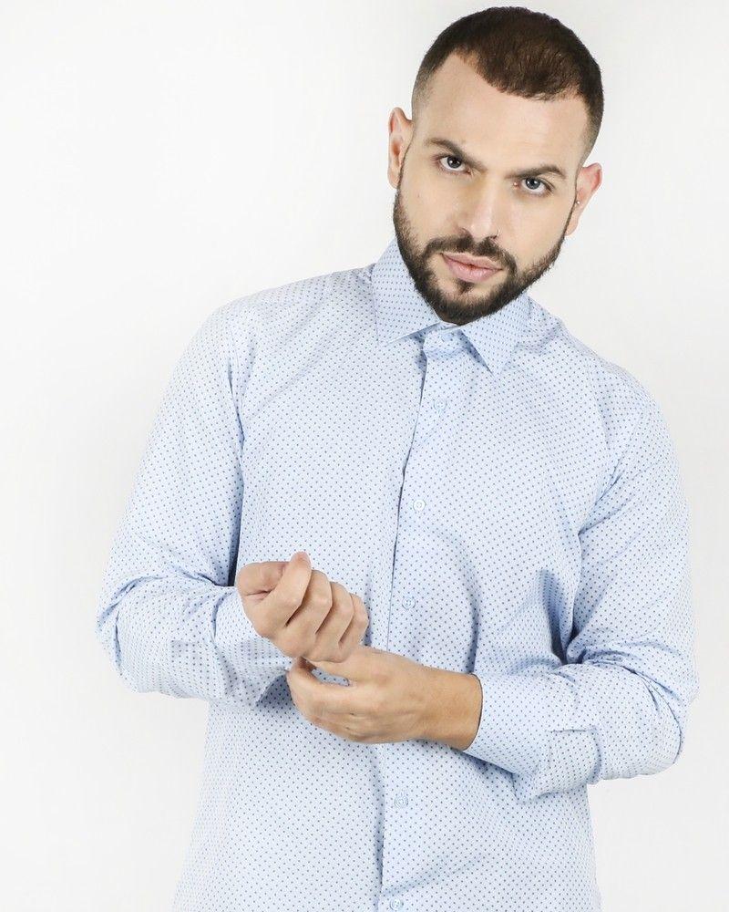 Chemise bleue à motifs fantaisies Chrom