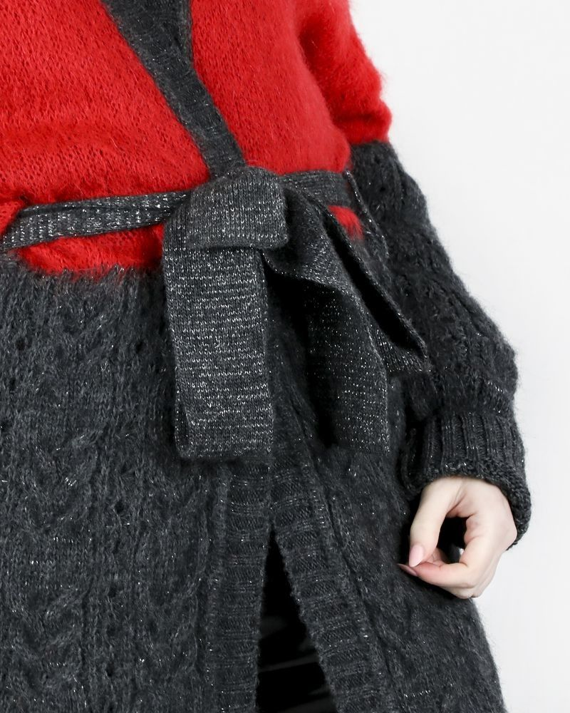 Gilet long en mohair bicolore Space Simona Corsellini