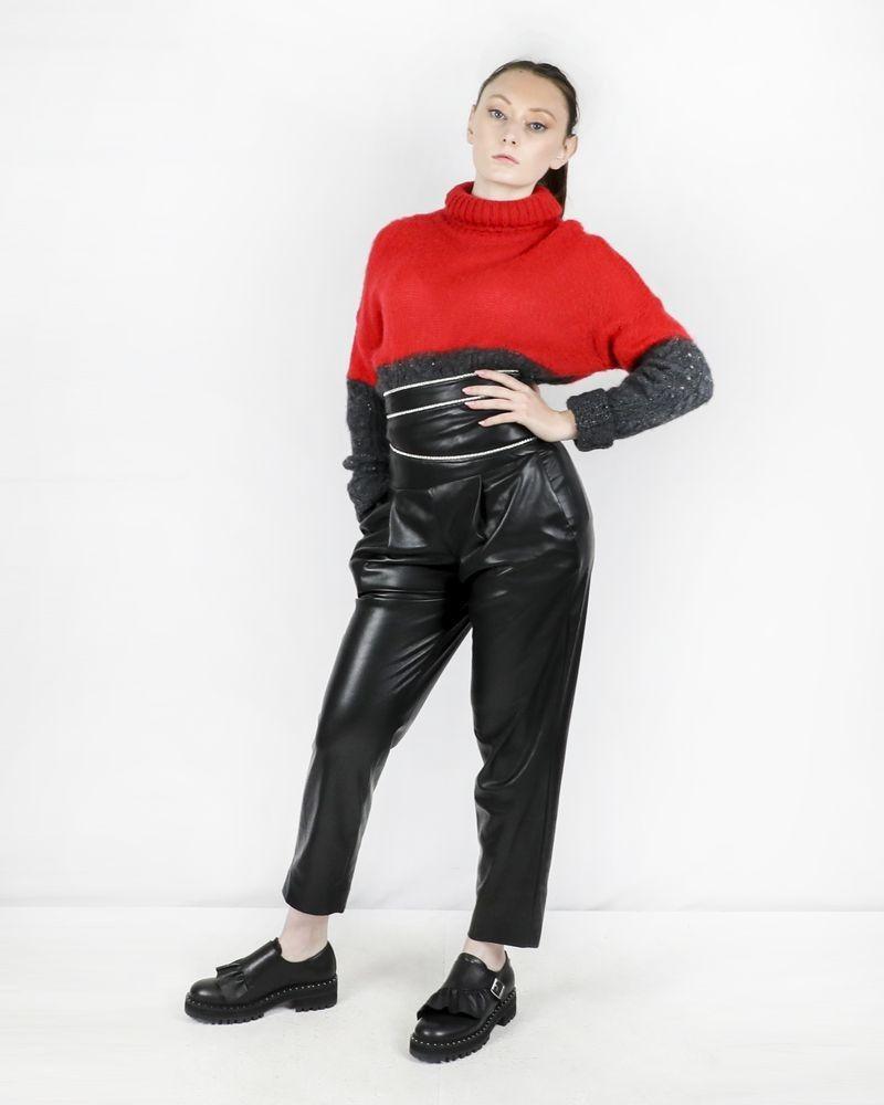 Pantalon taille haute en simili noir à galon strassé Space Simona Corsellini