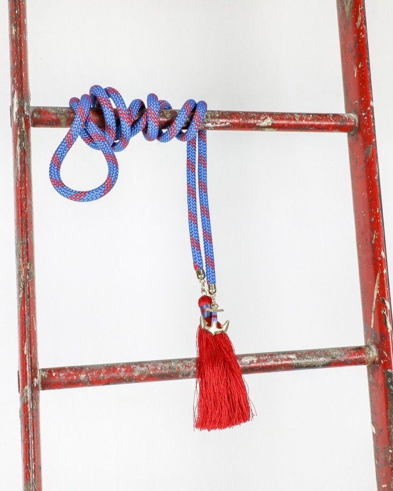 Ceinture facon corde bicolore à pompons Space