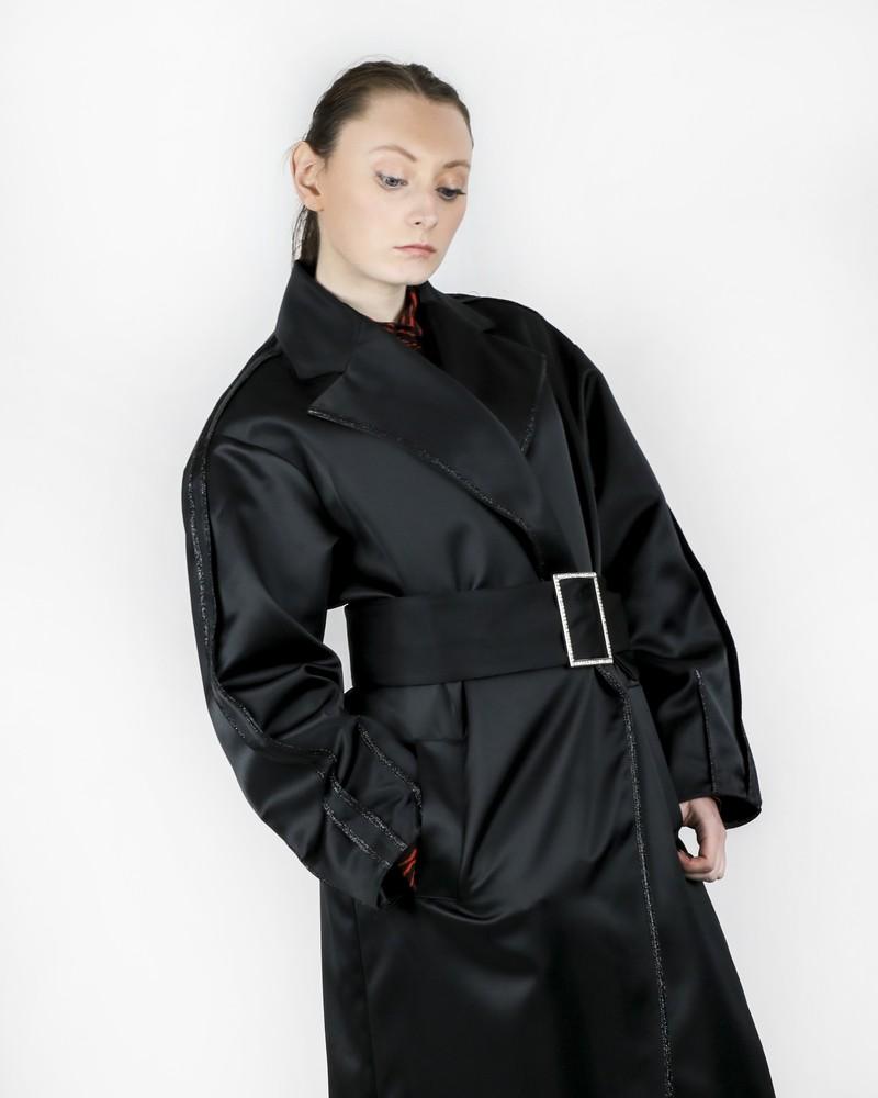 Manteau en soie noir à galon pailleté Space Simona Corsellini