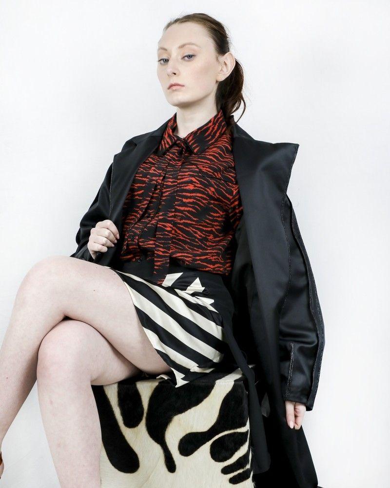 Jupe 100% soie bicolore asymétrique à rayures Space Simona Corsellini
