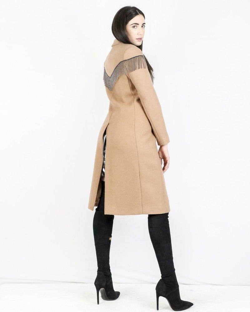 Manteau en laine beige frangé Isabelle Blanche