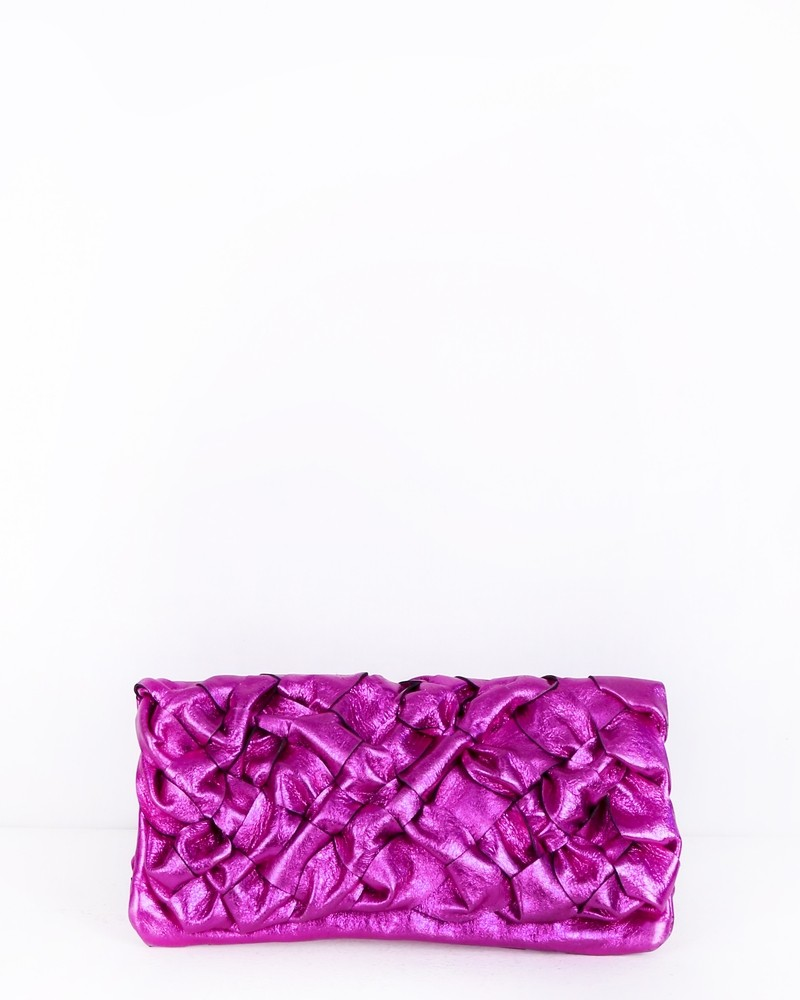 Pochette en cuir tréssé rose Lyfi Alexander
