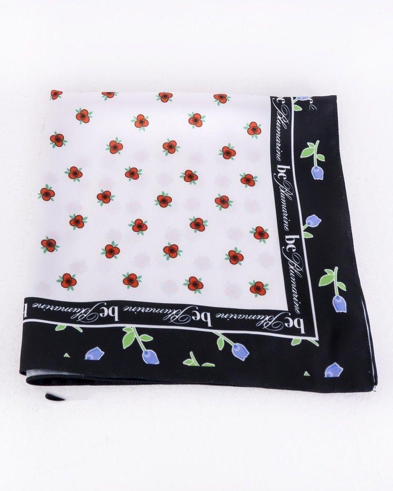 Carré de soie blanc à motif floral Blumarine