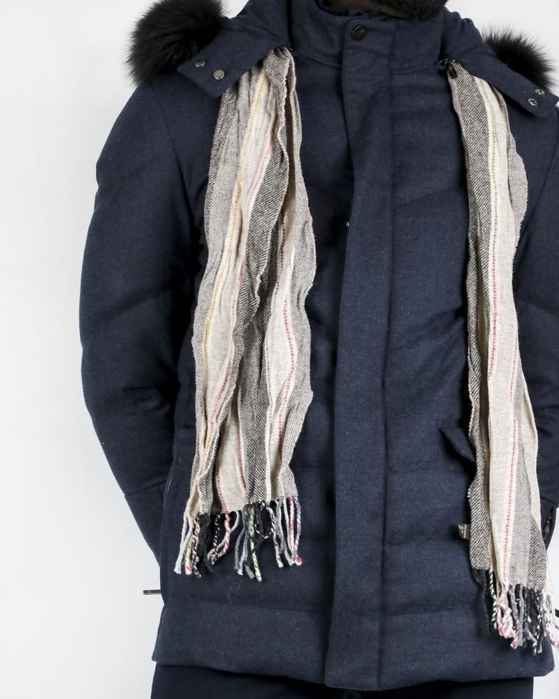 Echarpe en laine beige rayé Corneliani